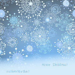 christmas card with cute snowflakes