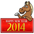 Cartoon Horse with New year Sign