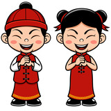 Vector illustration Chinese Kids