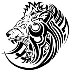 Vector image of an lion head tribal on a white background