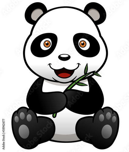 Vector illustration of panda cartoon with bamboo