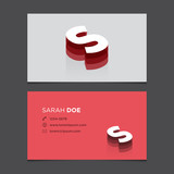 Business card template with alphabet letter S.