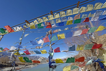 prayer flag row on bridge cross over Indus River, Ladakh, India