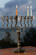 Hanukkah menorah on the second day of Hanukkah
