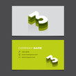 Business card template with number 3.