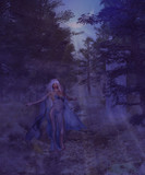 Woman in the foggy forest