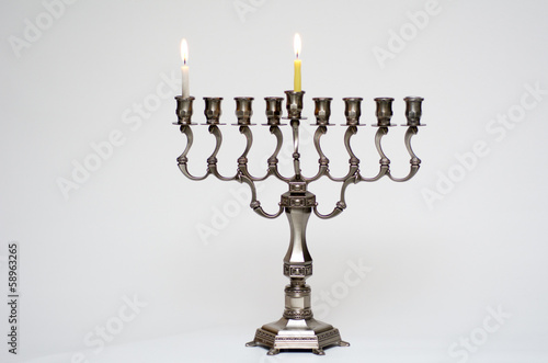 Hanukkah menorah on the first day of Hanukkah
