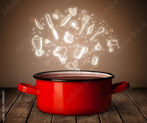 cooking icons coming out from cooking pot