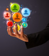 Social network icons in the hand of a businessman