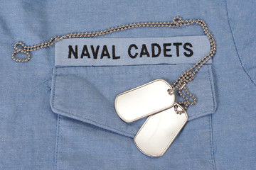 us naval cadets uniform with blank dog tags