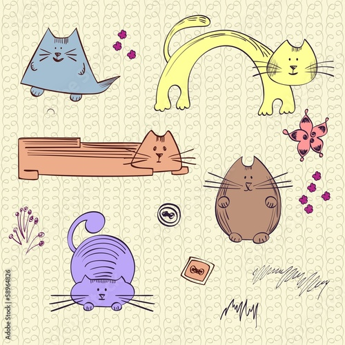 seamless pattern with unusual cats. Set of cats.