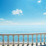 white balcony over sea and blue sky