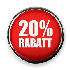 Roter 20 Prozent Rabatt Button mit Metallrand