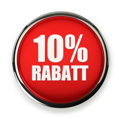 Roter 10 Prozent Rabatt Button mit Metallrand