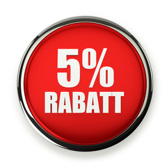 Roter 5 Prozent Rabatt Button mit Metallrand