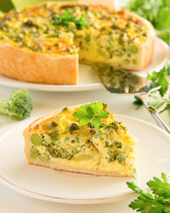 Vegetable pie with broccoli, peas and cheese.