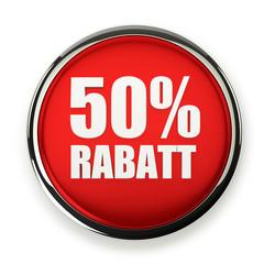 Roter 50 Prozent Rabatt Button mit Metallrand