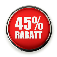 Roter 45 Prozent Rabatt Button mit Metallrand