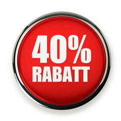 Roter 40 Prozent Rabatt Button mit Metallrand