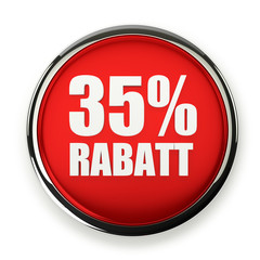 Roter 35 Prozent Rabatt Button mit Metallrand