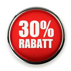 Roter 30 Prozent Rabatt Button mit Metallrand