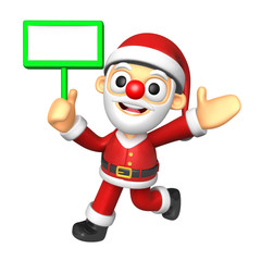 3D Santa mascot the left hand guides and the right hand is holdi