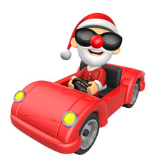 Driving a red sports car in 3D Santa character. 3D Christmas Cha