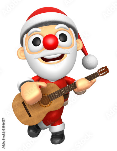 3D Santa has to be playing the guitar. 3D Christmas Character De