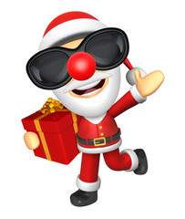 3D Santa mascot the right hand guides and the left hand is holdi