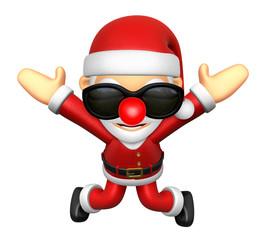 3D Santa character unclasp both hands jumping.  3D Christmas Cha