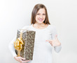 happy beautiful christmas woman with christmas gifts , christmas