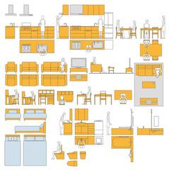 住宅室内の家具レイアウトパーツ