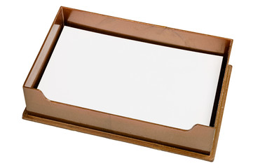 Brown tray with blank paper
