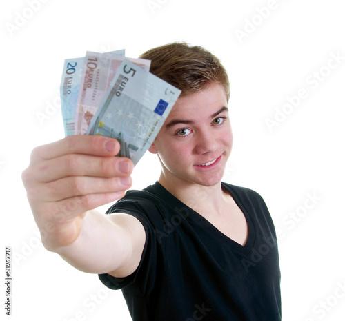 Leinwanddruck Bild Teenager zeigt Euroscheine