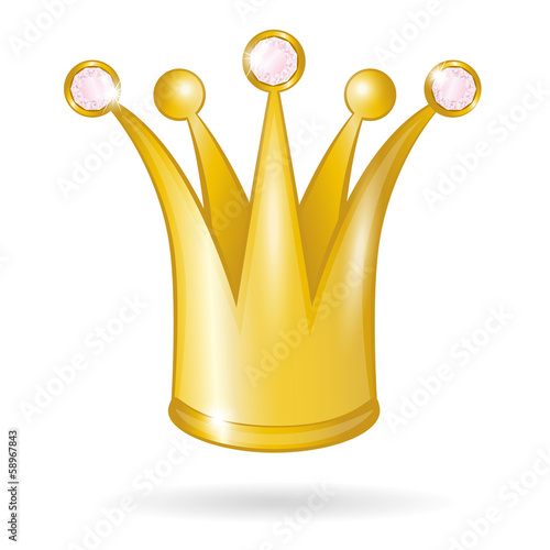 Gold princess crown isolated on a white background