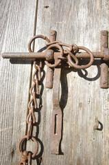 détail de vieille porte en bois - fermeture
