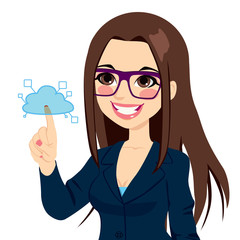 Businesswoman Touching Cloud Computing