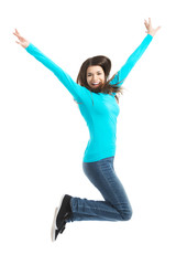 Young casual woman, student jumping.