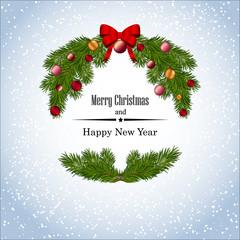 Новогодний рождественский фон с поздравлением