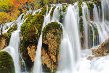 autumn waterfall closeup