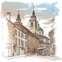 Dessin vectoriel de la rue centrale de la vieille ville européenne