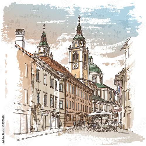 Vector drawing of central street of old european town