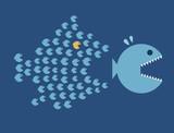 Little Fish Eat Big Fish. Unity, Teamwork, Organize Concept