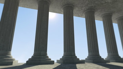 Animation of Classic Ancient Interior with Columns