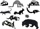 ten animal sketches on white background