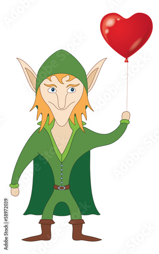 Elf with heart balloon
