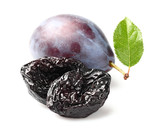 Prune and plum with leaf