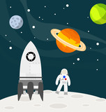 Astronaut on the moon with rocket vector illustration