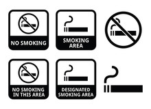 Zakaz palenia, zestaw ikon wektorowych dla palących