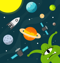 Cute ufo in the universe vector